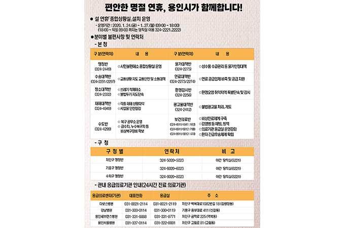 용인시 설 연휴 종합상황실 운영